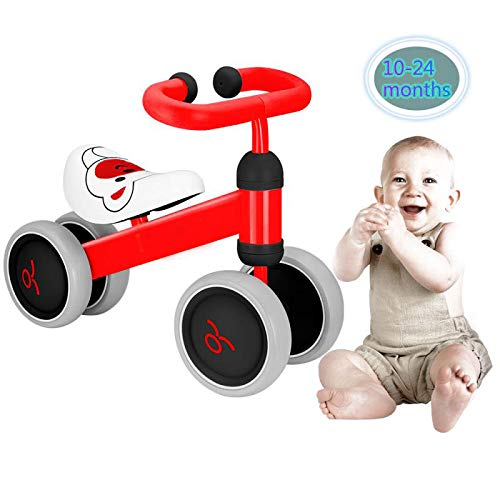 EWOKI Baby Walker Balance Bikes Bicycle Toy for Children 10-24 Months,Outdoor Toddler Bike for1 Year Old Boys Girls No Pedal Infant 4 Wheels First Birthday Gift(Red)