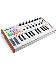 Worlde MINI Portable 25 Keys USB Keyboard MIDI Controller Synthesizer Beat Machine with Pro Software Suite Colorful Drum Pads