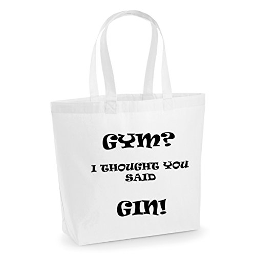 GIN Printed Tote Bag Print Said I Bag GYM Workout Funny Thought Large With Black You Yoga Cotton Slogan Shopper White qwzIFYp