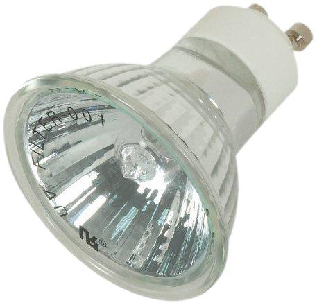 Satco S4194 50 Watt MR16 Halogen GU10 Base 120 Volt No Back Light 38° Degree Flood No Harmful Ultraviolet Rays Aluminum Back Light Bulb, With ()