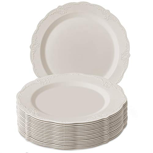 DISPOSABLE DINNERWARE PLATES | Premium Reusable Plastic Dishes | 20 Dinner plates | Vintage - Cream | 10.25