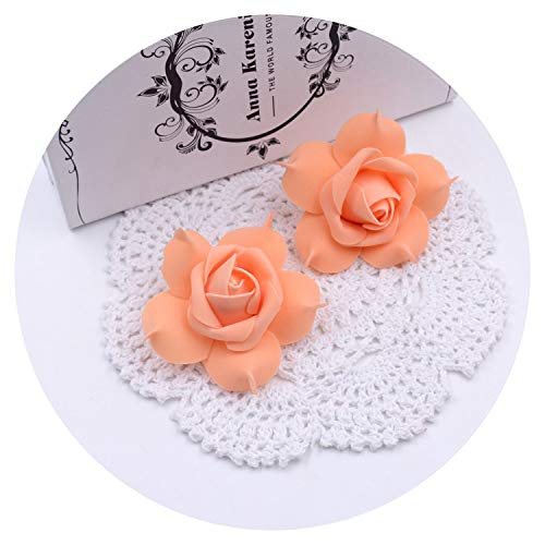 10pcs Artificial Flower Foam Rose Head Wedding Home Decoration Flowers Wreath Gift Box Clip Art Fake Flowers,Orange