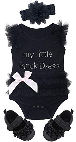 COSLAND Baby Girls' Lace Tutu Dress Bodysuit Outfits with Headband Shoes (12-18 Months, Black 2) ()