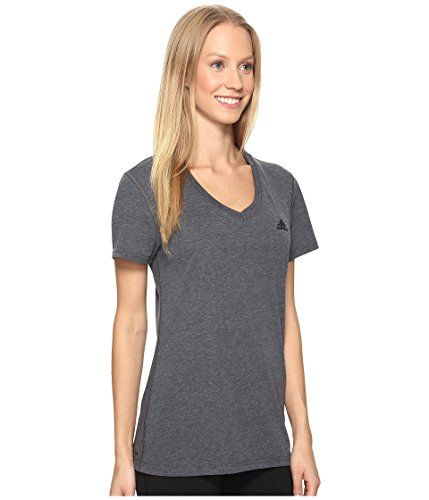 adidas Women's Ultimate Short Sleeve V-Neck Tee, Dark Grey Heather, X-Large (Spring Adidas Womens)
