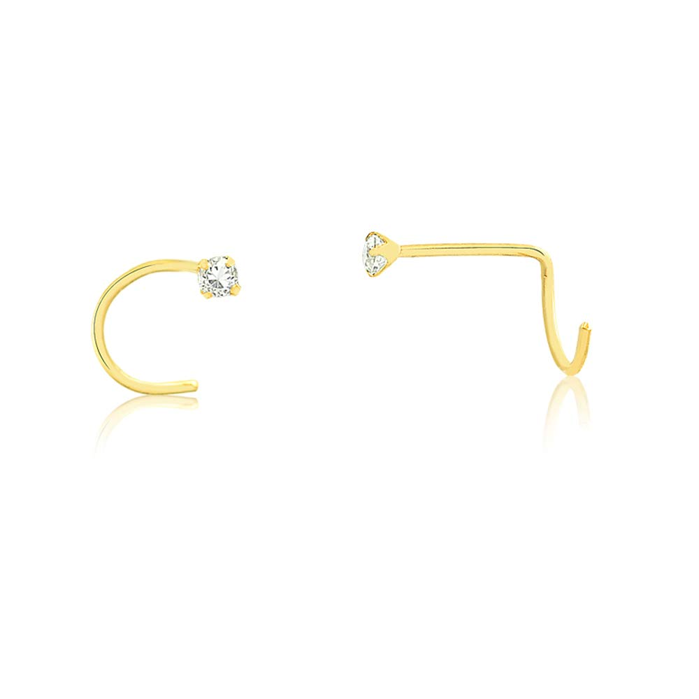 Carol Jewelry 18k Gold Tiny Nose Stud, Nose Ring Stud Bone L Shape Synthetic White Cubic Zircon 1.75 mm Nose Piercing (Yellow-Gold) by Carol Jewelry