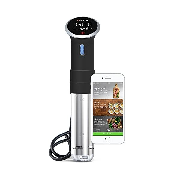 Anova Culinary A2.2-120V-US Sous Vide Precision Cooker Bluetooth, Immersion Circulator, 800 Watts, Black 41mw3Bn6P8L