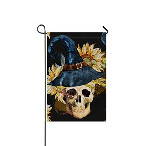 InterestPrint Halloween Pattern with Skull, Pumpkin, Sunflower Welcome House Flag Banners for Patio Lawn Outdoor Home Decor 12 x 18 Inch -