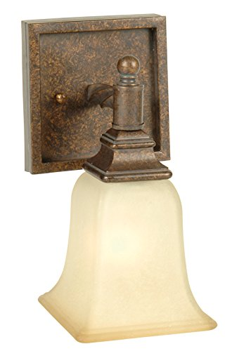 Jeremiah Lighting 15405PR1 Ryan - One Light Bath Vanity, Peruvian Bronze Finish with Tea Stained ()