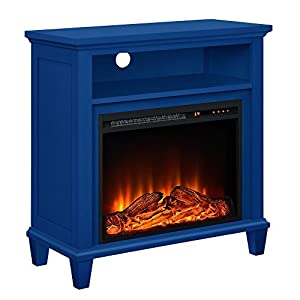"""Ameriwood Home Ellington TV Stand with Fireplace for TV's up to 32"""", Navy"""