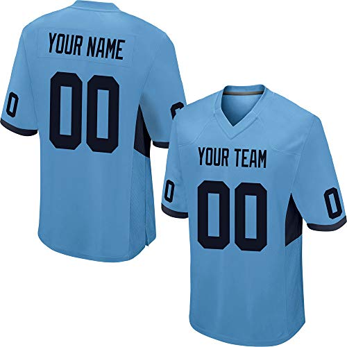 - Custom Men's Light Blue Mesh Football Game Jersey Stitched Team Name and Your Numbers,Black Mesh Size XL
