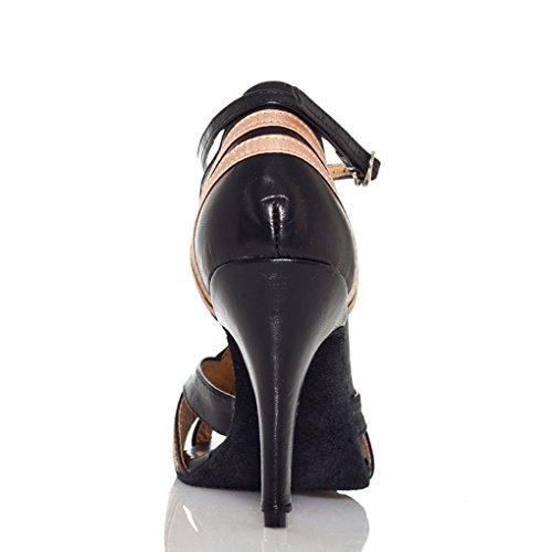 Miyoopark Femmes 3 Pouces Talon Pu Cuir Rumba Chaussures De Danse Latine Moderne Noir / Blanc
