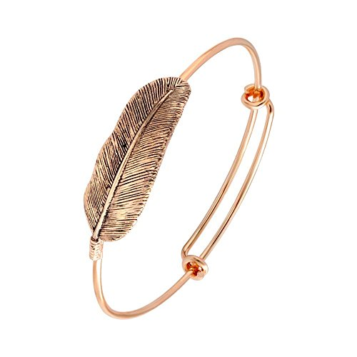 SENFAI Retro Alloy Gold Plated Leaf Bracelet Fashion Charms Feather Bracelets Vintage Simple Bangles for Women