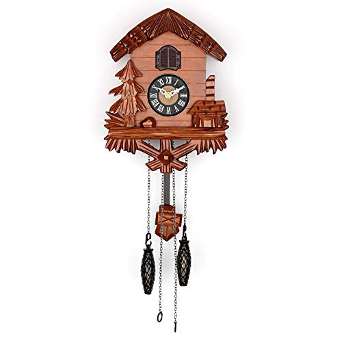Polaris Clocks Wooden Cuckoo Clock with Night Mode, Singing Bird, Swinging Pendulum and Carved Wood Decorations (Cherry) ()