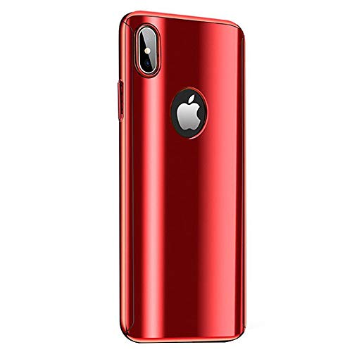 Fantasydao Compatible/Remplacement for iPhone XR Case + Screen Protector 2 in 1 Plating Hard PC Mirror 360° Full Body Protection Ultra Thin Cover for i Phone XR (Red)