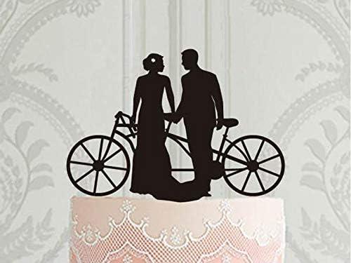 Decoración para tarta de boda, silueta de novia y novio con ...