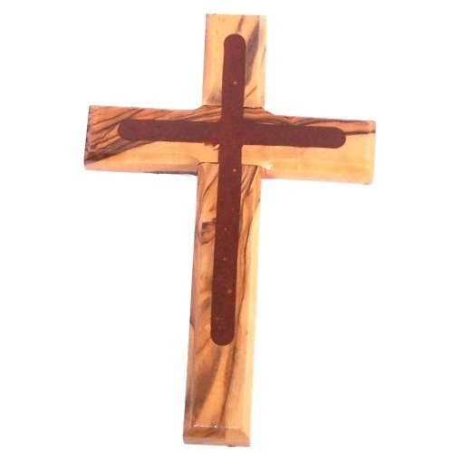 Holylandmarket Special Olive Wood - Two (2) Tones Cross (6.5 inches) Comes with - Cross Rosary Solid