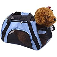 Gluckluz Pet Carrier Airline Approved Travel Bag Handbag Under Seat with Mesh Top Soft-Sided for Small Animals Dogs Cats Puppy Kitten Indoor Oudoor Travel Car (Blue, 52 X 25 X 33 CM)