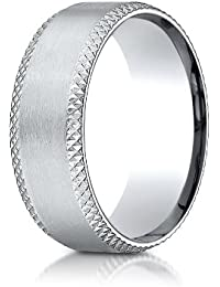 Platinum 8mm Comfort-Fit Satin Cross Hatched Beveled Edge Carved Design Wedding Band Ring for Men