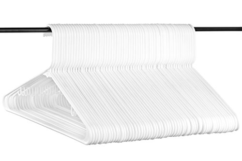 Neaties White Medium Weight Premium Plastic Hangers w/Hooks and Reinforced Shoulders, American Made Long Lasting Quality Hangers, Value Set of 60