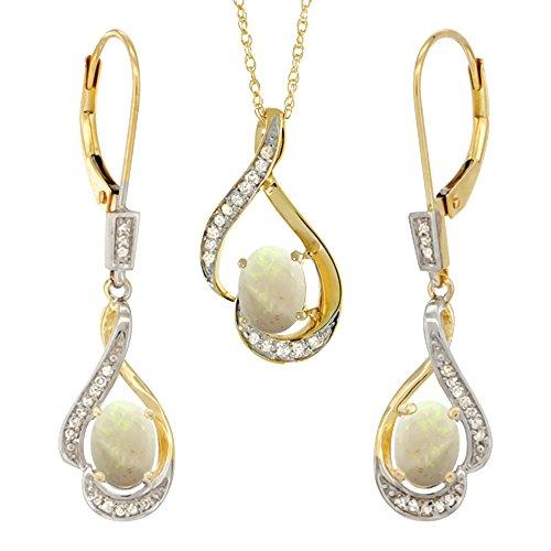 14K Yellow Gold Diamond Natural Opal Lever Back Earrings & Pendant Set Oval 7x5mm