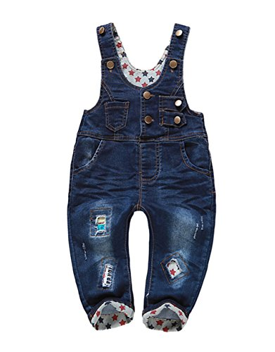 Kidscool Baby Boys/girls Star Lining and Patch Blue Cardigan Denim Overalls