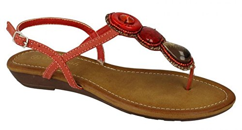 Savannah Ladies Womens New Low Wedge Toe Post Ankle Strap Beaded Sandals Shoes Size 3-8 Red GxNUj7xFT