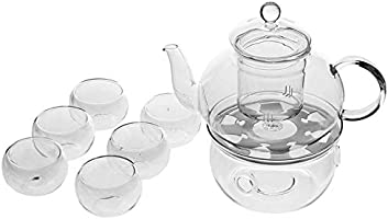 Borosilicate Heat-resistant Glass Tea Pot Set Infuser Teapot + Warmer + 6 Double Wall Tea Cups
