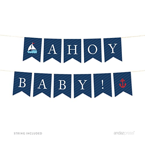 Andaz Press Nautical Baby Shower Collection, Hanging Pennant Party Banner, Ahoy Baby!, 5-Feet, 1-Set, Decor Paper Decorations ()