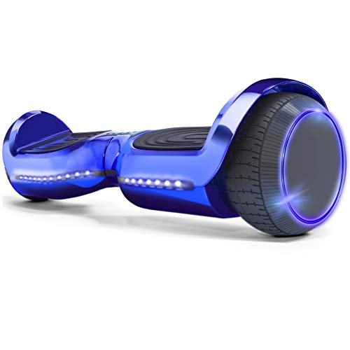 XtremepowerUS 6″ Self-Balancing Hoverboard LED Bluetooth Speaker SGS Certified Hoverboard, Blue