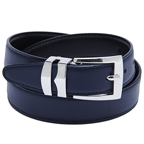 Silver Reversible Belt - Reversible Belt Bonded Leather Removable Silver-Tone Buckle NAVY BLUE/Black 52