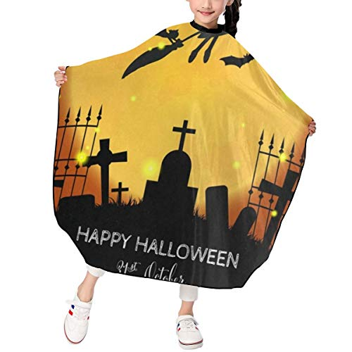 Hair Cutting Apron Cute Witch Flying Halloween Party 31St October Personalized Hairdressing Salon Cutting Cape Polyester Water Resistant -