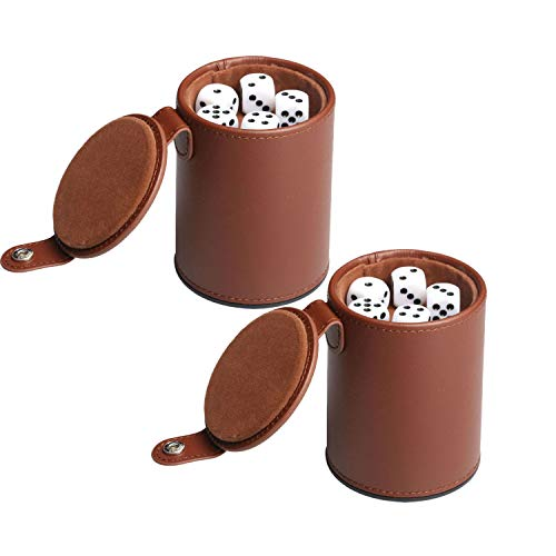RERIVER 2 Pack PU Leather Dice Cup Set with Storage Compartment Felt Lining Shaker with 5 Dot Dices for Farkle Yahtzee Games Playing Birthday Gift,Brown