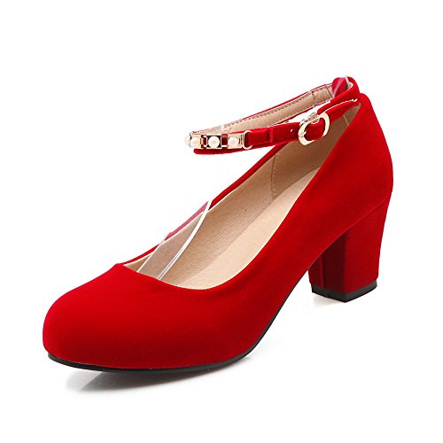 Ankle strap shoes red 41 Donna Tomaia Pumps Eu Rosso In heels 5 Apl01428 Balamasa Kitten Pelle Fibbia twFO1