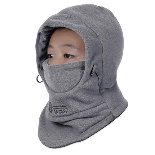 OJSCOS Kids Windproof Double Thick Fleece Hoody Balaclava Outdoor Sledding Skiing Cap (Dark Gray)