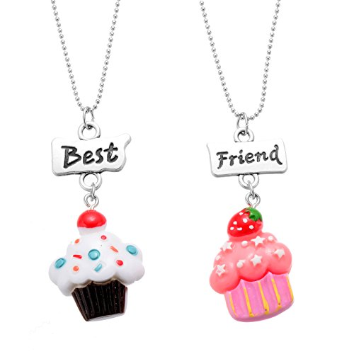 Fsmiling Best Friends Forever Colorful Cupcake Friendship Necklaces Set for Kid (Friendship Cup)
