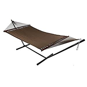 Sunnydaze Large 2 Person Soft-Spun Polyester Spreader Bar Rope Hammock with Stand, Mocha, 350 Pound Capacity
