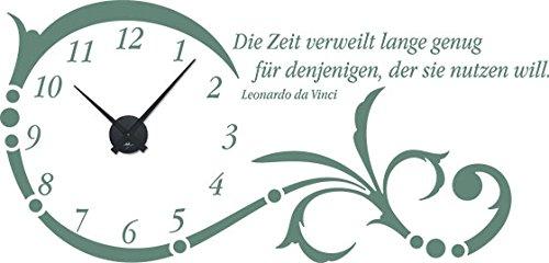 GRAZDesign Wanduhr groß Aufkleber Ornament mit Spruch - Wandtattoo Uhr mit Uhrwerk Die Zeit verweilt Lange genug - Uhren Wand Tattoo mit großen Zahlen   119x57cm   800331_GD_080 B07CQTJZVR Wandtattoos & Wandbilder