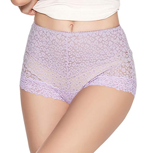 (Eve's temptation Lily Women's High Waist Lace Panties Underwear Seamless Slimming Full Coverage Brief -Purple Small)