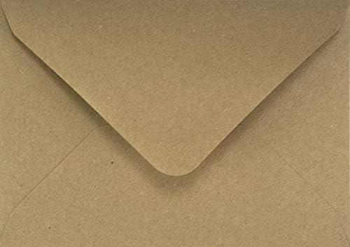 25 Sand-Braun quadratische Kraftpapier-Umschläge 155x155mm Spitzklappe ohne Fenster recycelte Kuverts Natur Vintage Kraftpapier Briefumschläge Braun Naturpapier Umschläge aus Ökopapier