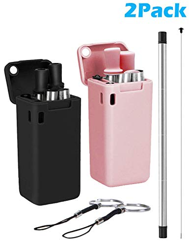 Henwei 2 Pack Collapsible Reusable Straw, Composed of Stainless Steel and Food-grade Silicone, Portable Set with Hard Case Holder and Cleaning Brush, For Party, Travel, Household, Outdoor (Black&Pink)