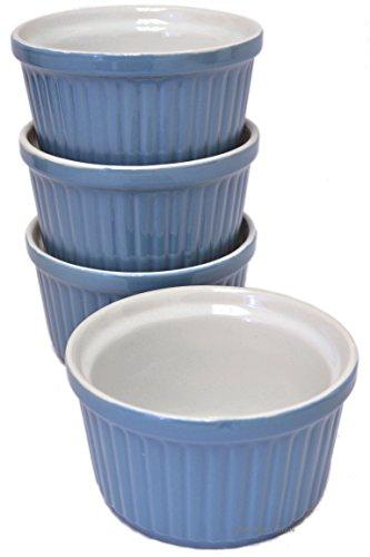 Light Blue Porcelain (Set of 4 Light-Blue Porcelain 5oz Ribbed Dessert Oven Safe Dish Ramekins)
