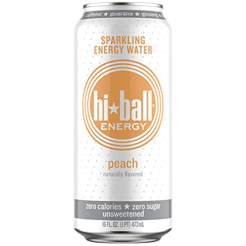 Hiball Energy Sparkling Water, Peach, 16 Ounce (Pack of (Sparkling Peach)