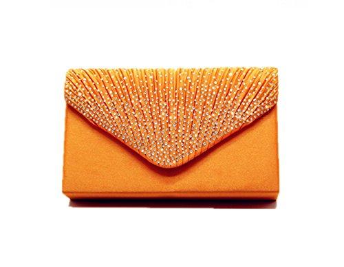 Nodykka Women Evening Envelope Rhinestone Frosted Handbag Party Bridal Clutch Purse (Orange)