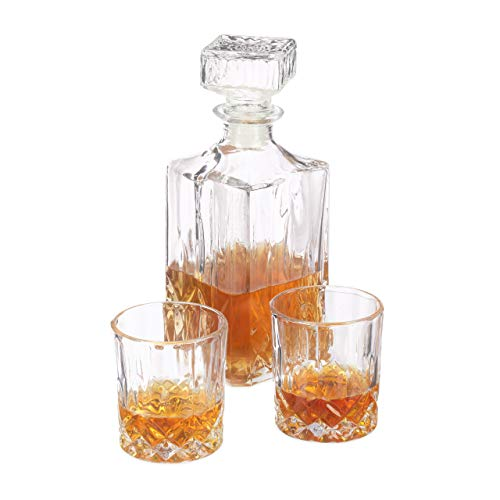 Relaxdays 3-Piece Whisky Glassware Set, Whisky Glasses (250 ml) & Glass Decanter, Fine Transparent Crystal Glass for The Home Bar ()
