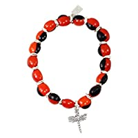 Eco Friendly Peruvian Gift Bracelet for Women - Huayruro Red Black Seeds - Dragonfly Charm - Handmade Jewelry By Evelyn Brooks