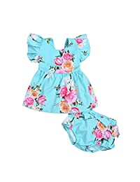 MetCuento Baby Girls Floral Clothes Ruffle Short Sleeves Tops Summer Party Dress Beach Wear Sundress Skirt Outfit 3-24 Months