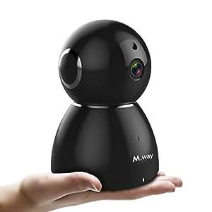 Cámara IP WiFi, M.Way 1080P 2MP HD Wireless P2P, 120 ° Gran Angular, Nube de Almacenamiento, 64G TF, Baby Monitor, Vigilancia Seguridad Interior, Llamada de Voz, Compatible iOS y Android Negro