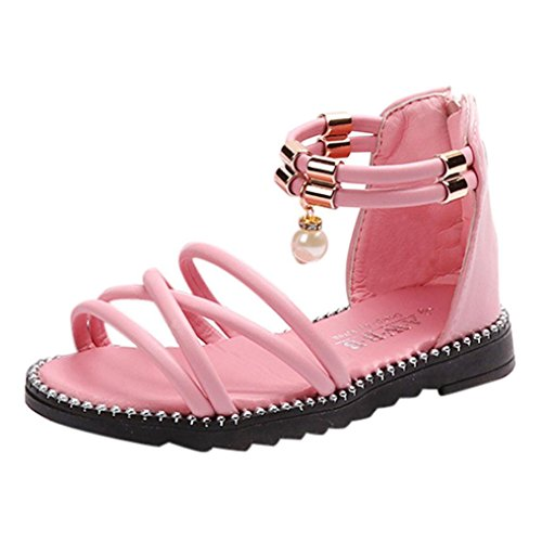 Baby Shoes for 3-6Years Old,Deesee(TM) Summer Boys Girls Pendant Pearl Beach Princess Roman Single Shoes (5-5.5T, Pink)