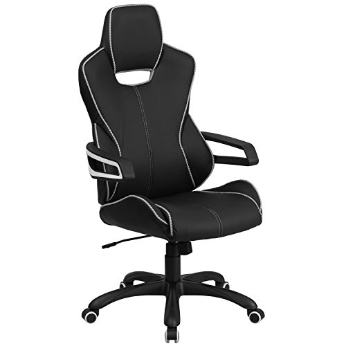 Flash Furniture High Back Black Vinyl Executive Swivel Chair with White Trim and - Back Vinyl Executive