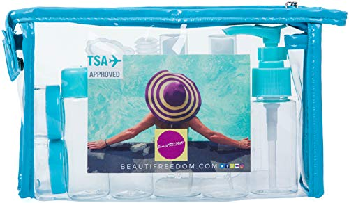 BeautiFREEDOM Airline Refillable TSA Approved Set with Travel Bottle-Leak Proof-Can be Gift-Wrapped BPA-Free with 3-1-1 Containers for Liquids (Shampoo